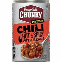 Campbell's Chunky Chili, Hot & Spicy Beef & Bean Firehouse, 19oz (12-Pack) - $27.35