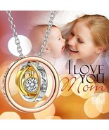 I LOVE YOU MOM Pendant/Necklace~Trinity Rings~NEW~Perfect Gift 4 Mom~W/G... - $24.99