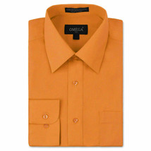 Omega Italy Men's Button Up Long Sleeve Solid Orange Dress Shirt w/ Defect XL