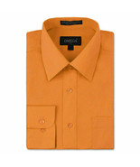 Omega Italy Men's Button Up Long Sleeve Solid Orange Dress Shirt w/ Defe... - $9.89