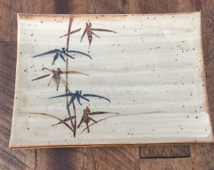 Vintage Japanese Bamboo Leaf Speckled Sushi Appetizer Serving Tray Dish