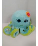 First & Main blue green plush octopus pink flower NC Aquariums North Car... - $19.79
