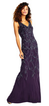 Adrianna Papell Amethyst Vine Motif Beaded Gown with V-neck Formal Dress    4 - $216.81