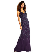 Adrianna Papell Amethyst Vine Motif Beaded Gown with V-neck Formal Dress... - $216.81