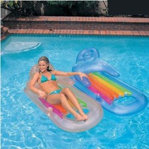 Inflatable Float Mat Lounge Chair Water Deck Floating Mat Chair Water Po... - $76.60