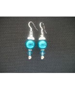 HANDCRAFTED HOLIDAY SWAROVSKI TEAL PEARL EARRINGS - $10.00