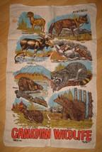 Montreal Canada Souvenir Tea Towel - Vintage 1960's Canadian Wildlife Souvenir - $19.79