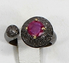 Victorian Gemstone Ring Oxidized in.925 SterlingSilver with Pave Diamond... - $150.00