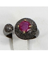 Pave Diamonds & Ruby Gemstone Ring Oxidized in.925 Sterling Silver, Gift... - $150.00