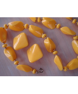 Vintage Yellow Plastic Bead Necklace, Clip Earrings - $12.99