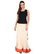 Cream Broom stick Crush Jaipuri Skirt with Orange border - SNY18240 - $26.00