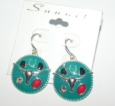 Turquoise Longhorn Steer Dangle Earrings Free Shipping - $12.00