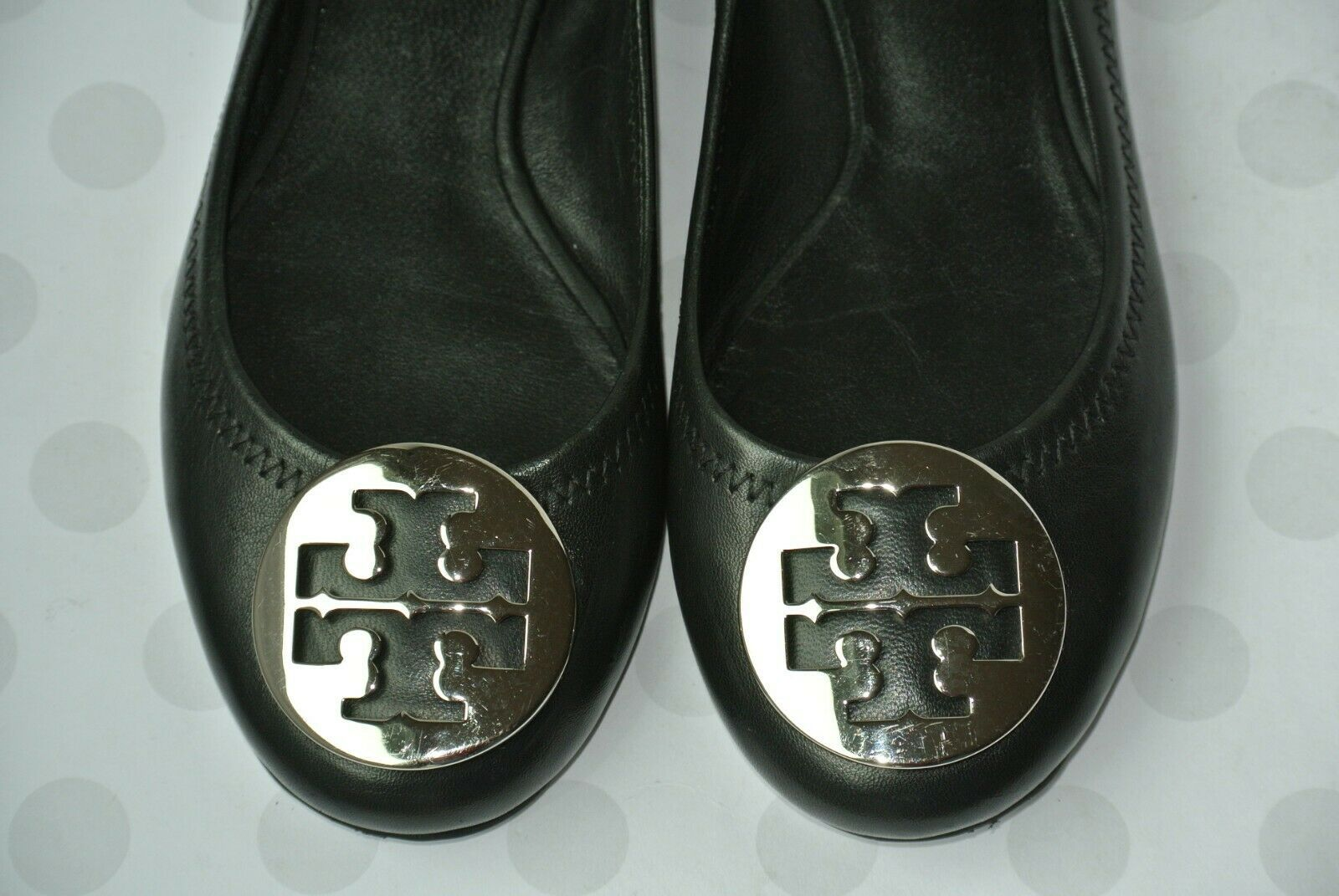 Tory Burch Reva Womens Sz 4.5 M Black Leather Ballet Flats EXCELLENT!