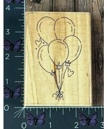 JRL Design Tied Bunch Of Balloons Hearts Rubber Stamp Bouquet Party Wood... - $4.46