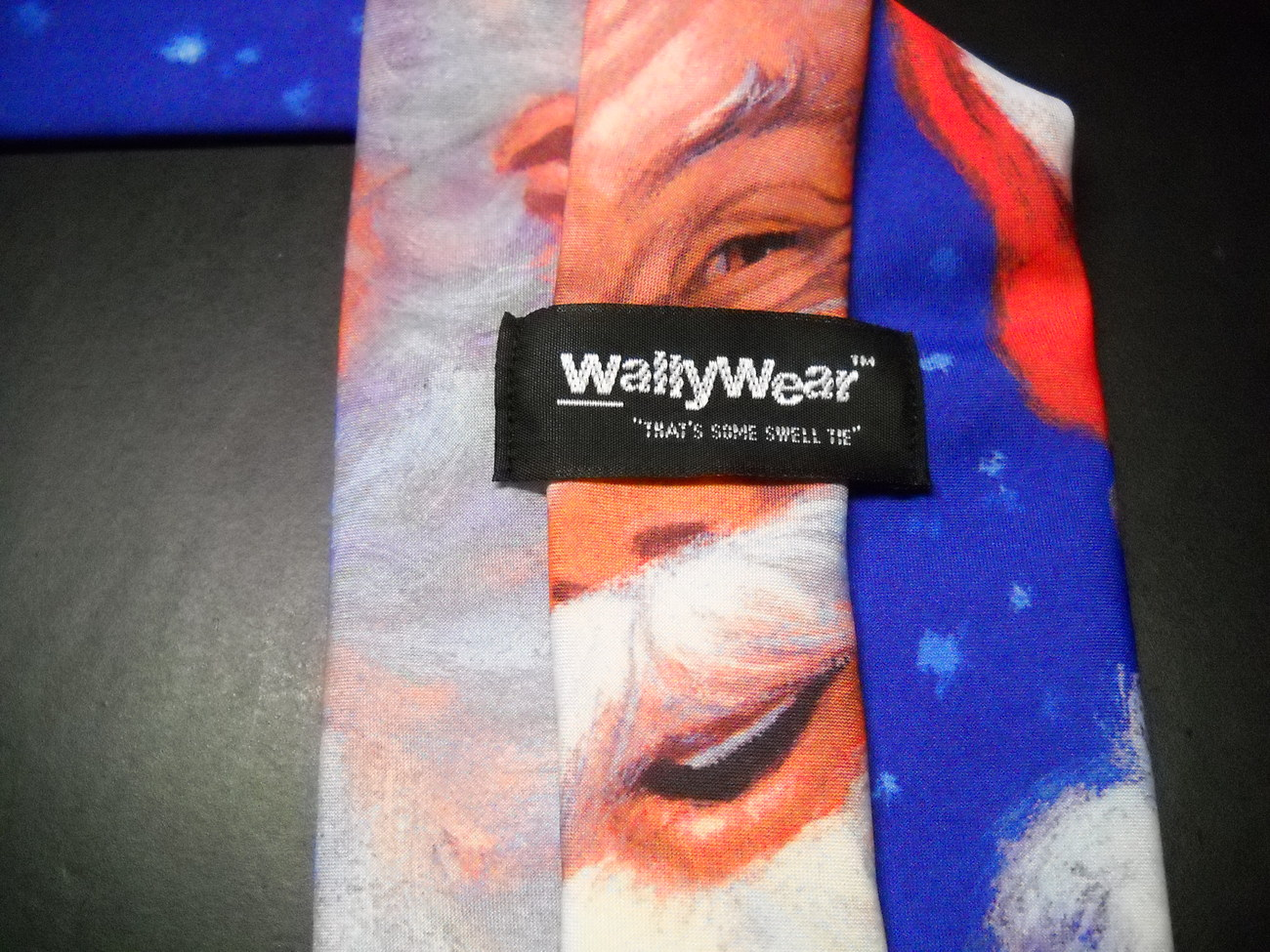 Ralph Marlin Wally Wear Dress Neck Tie Big Santa 1994 Blue Red and Mistletoe