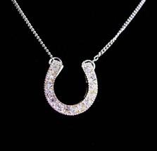 Vintage Irish wedding necklace - sterling cz horseshoe - Lucky Horseshoe -sweeth - $55.00