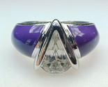 PURPLE ENAMEL and CUBIC ZIRCONIA Art Deco RING in Sterling Silver - Size 6