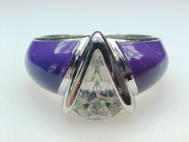 PURPLE ENAMEL and CUBIC ZIRCONIA Art Deco RING in Sterling Silver - Size 6 - $60.00