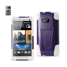 REIKO HTC ONE M7 HYBRID HEAVY DUTY CASE WITH KICKSTAND IN PURPLE WHITE - $7.11