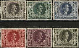 1943 Hitler Chancellor Set of 6 German Postage Stamps Catalog Number B231-36 MNH