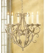 Chandelier IN wrought iron Uses SIX taper candles over 15 inch  - $27.79