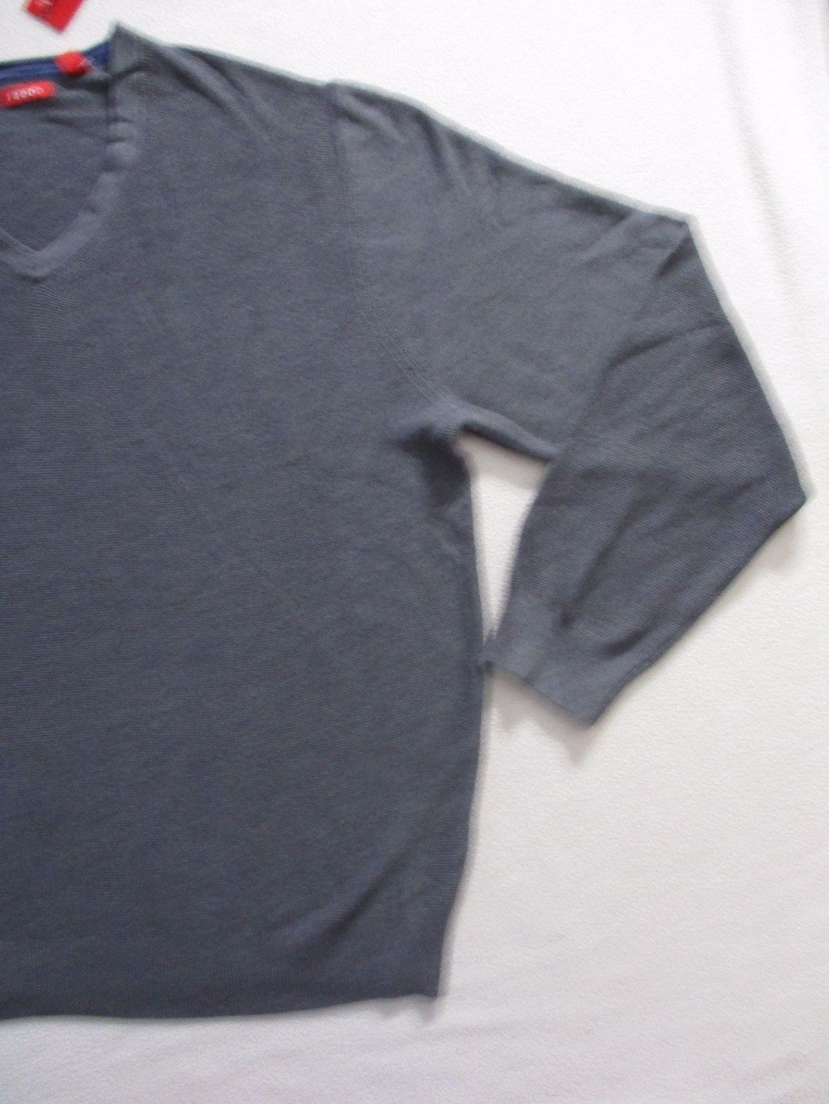Izod Men Sweater 2XL Gray Solid V Neck Long Sleeves Cotton 1700E