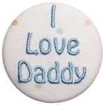 """I love Daddy"" Emboridered Button and Pacifier Clip"