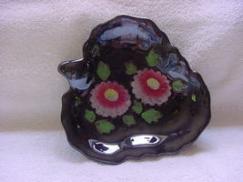 "Occupied Japan black dish 7"" with pink yellow &... - $10.00"