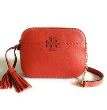 NWT TORY BURCH MCGRAW PEBBLED LEATHER CAMERA CROSSBODY BAG LAVA - $240.33