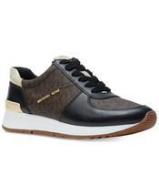 Michael Kors MK Women's Allie Trainer Leather Sneakers Shoes Black/Brown