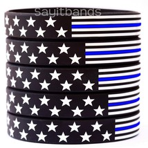 100 Stars and Stripes USA Flag Thin Blue Line Wristbands - Adult and Child Sizes - $49.99
