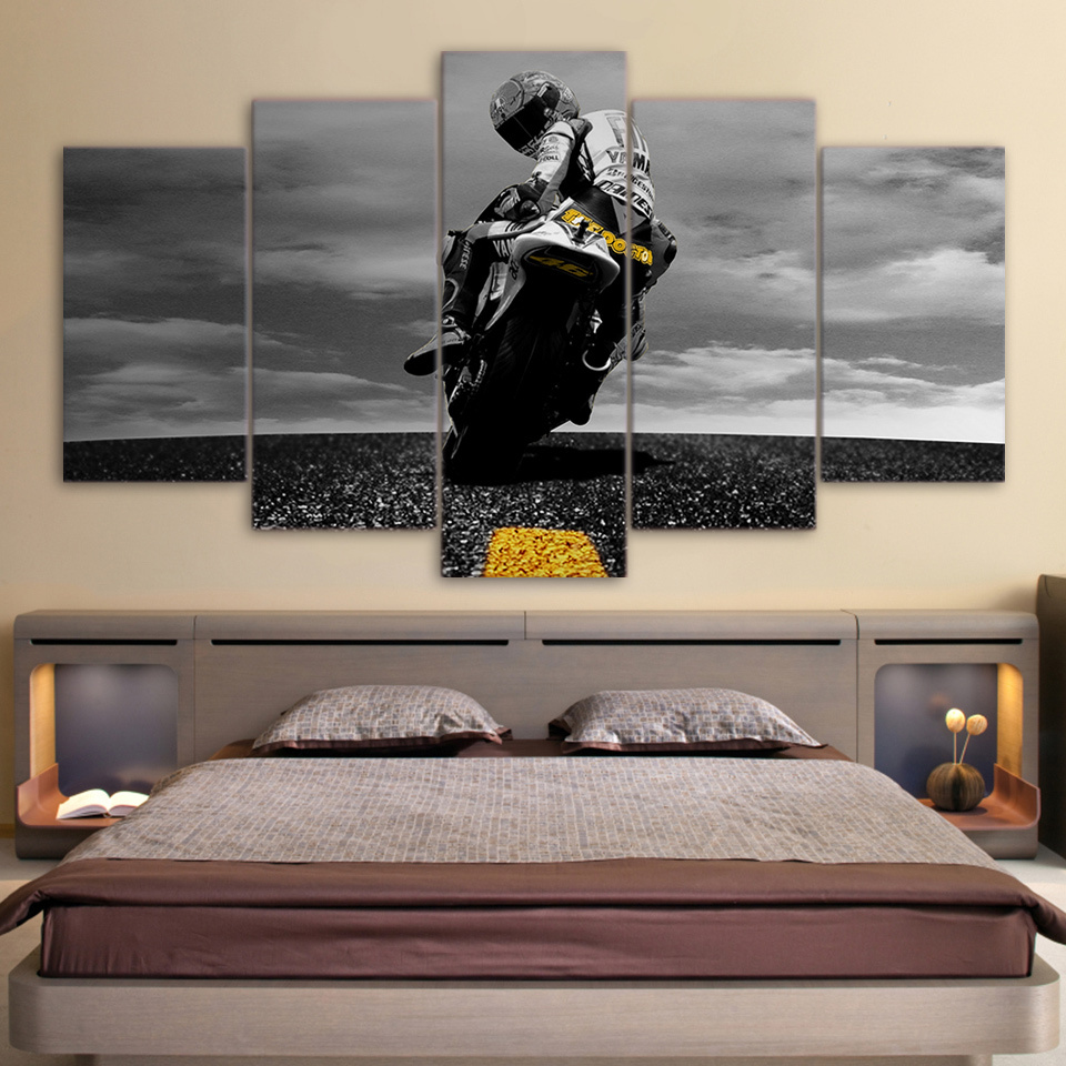 Valentino Rossi racer  5 Pcs Canvas Wall Art Painting Print Frame Home Decor for sale  USA