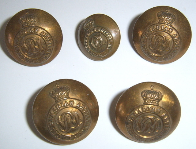 5 royal canadian artillery buttons