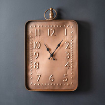 New large Distressed Copper Finish metal Wall Clock - $58.00