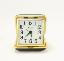 Bulova QUARTZ Travel Alarm Clock Black & Gold Metal Clam Shell Case Whit... - $79.95
