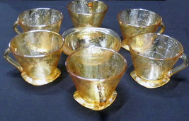 Beautiful set of six gold etched glass coffee cups and matching bowl - $24.75