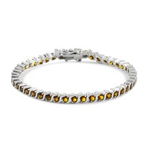 "Glamouresq Round Cut 18.00ctw Created Citrine Classic Tennis Bracelet 7"" Long - $75.43"