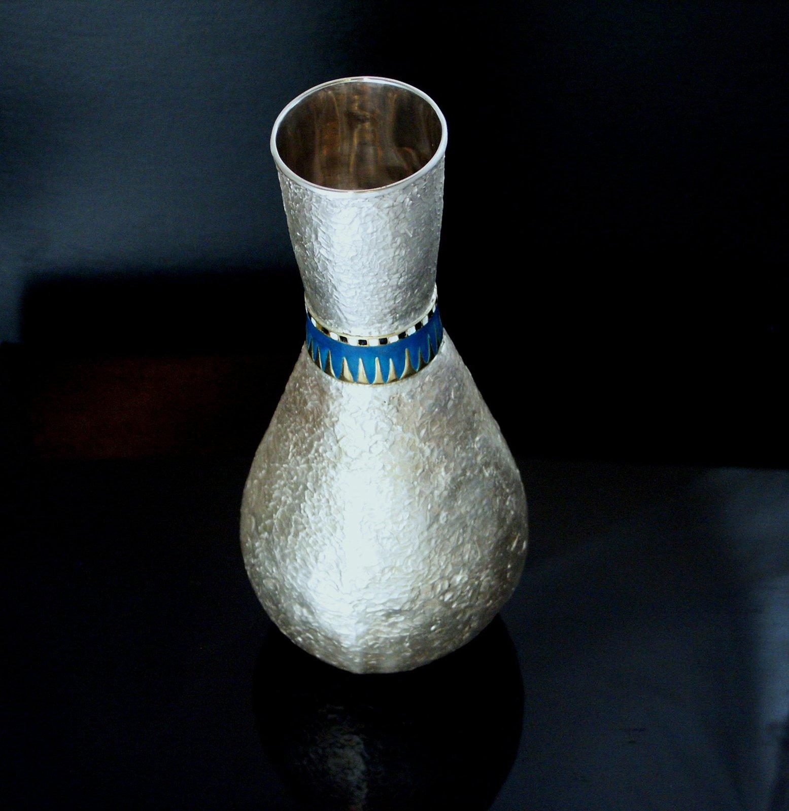Tutankhamun Enamelled Flask Egyptian Sterling Silver 925 10 karat gold accented