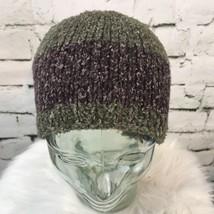 Knit Beanie Cap Heathered Green & Purple Winter Hat Unisex - $14.84