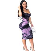 Women Tie-Dye Tight Long Dress Casual Spaghetti Strap Bodycon Bandage Se... - $29.99