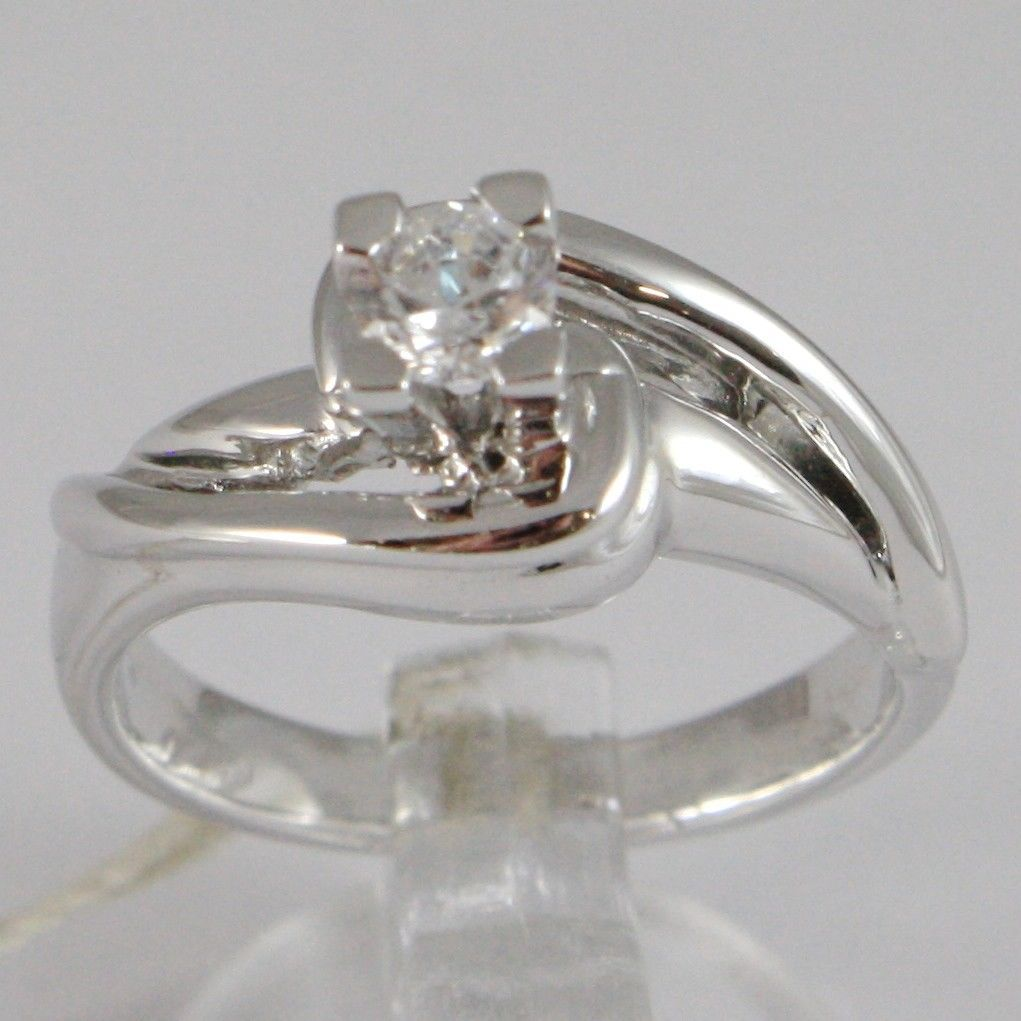 WHITE GOLD RING 750 18K, SOLITAIRE ZIRCON CUBIC CT 0.26, MADE IN ITALY