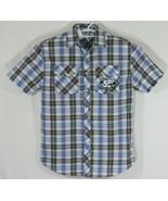 Disney Parks 55 Surf Tour Mens Med Shirt,  Blue Plaid Pearl Snap Front, ... - $28.05