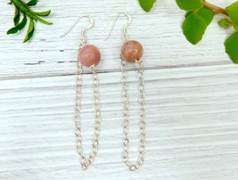 Pink Agate Chained Dangle Earrings, Natural Stone, Sterling Silver - $13.00