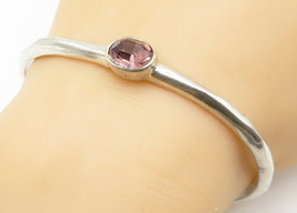 W/A 925 Silver - Vintage Faceted Oval Cut Amethyst Smooth Bangle Bracele... - $57.88