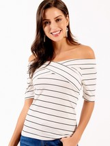 Women's T Shirt Striped Pattern Off Shoulder Slim Fit Top - $14.99