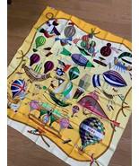 """Hermes Scarf Les Folies du Ciel 90 cm Silk Yellow air balloon Carre 35"""" - $295.02"""