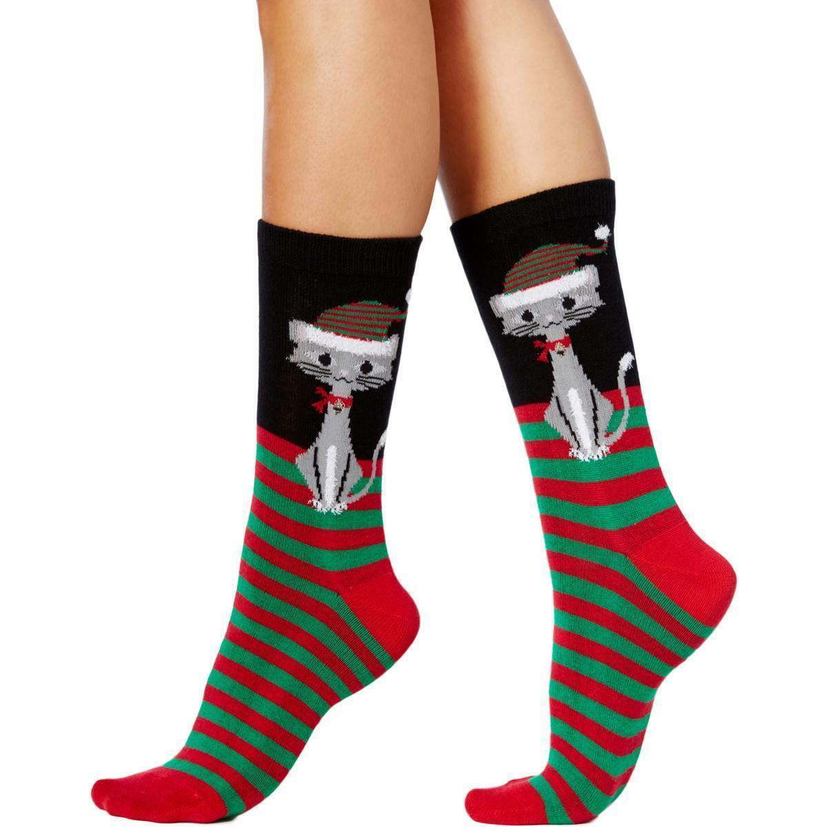 Charter Club women's Holiday Crew Socks Mega Kitty Stripes