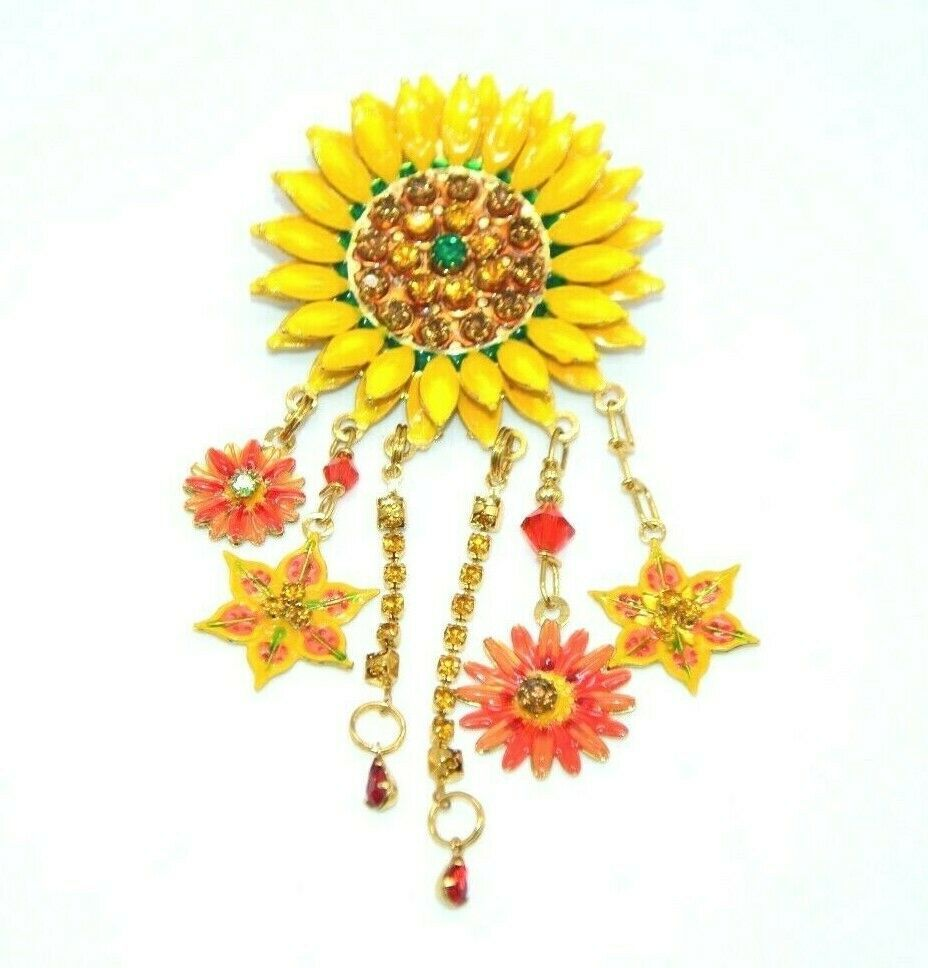 Primary image for Lunch at the Ritz Large Sunflower Rhinestone Dangle Bling Brooch Pendant Latr2Go