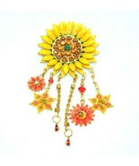 Lunch at the Ritz Large Sunflower Rhinestone Dangle Bling Brooch Pendant... - $98.99