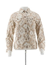 Denim & Co Stretch Twill Ikat Print Jean Jacket Stone XXS NEW A232682 - $25.72